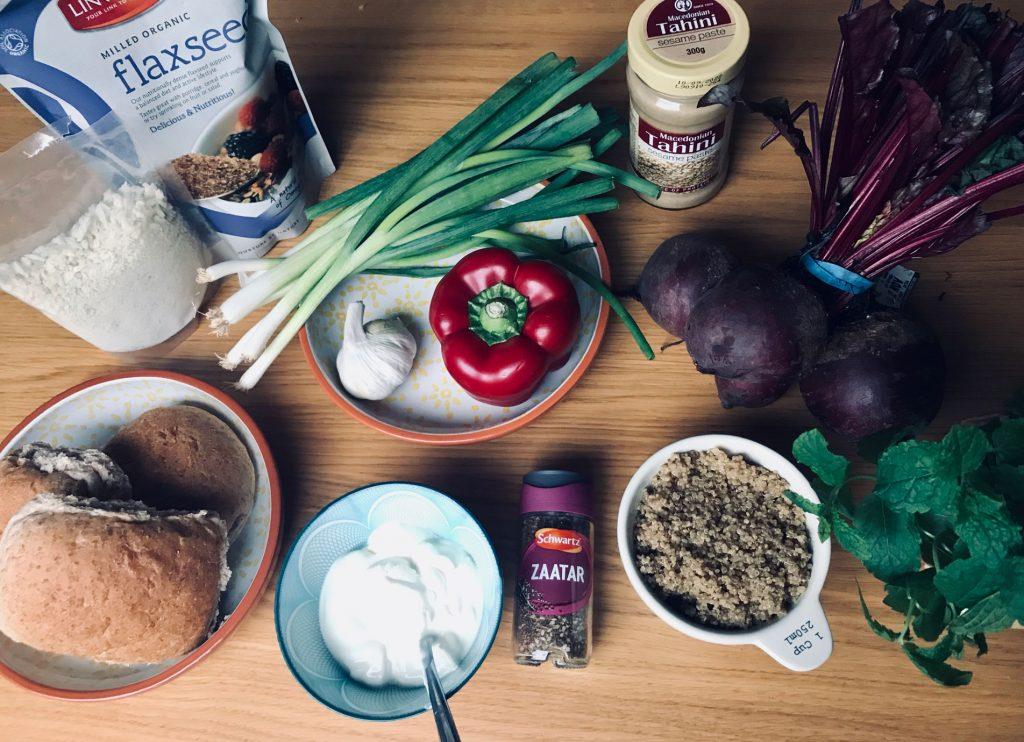 Beetroot & Quinoa Vegan Burger Ingredients